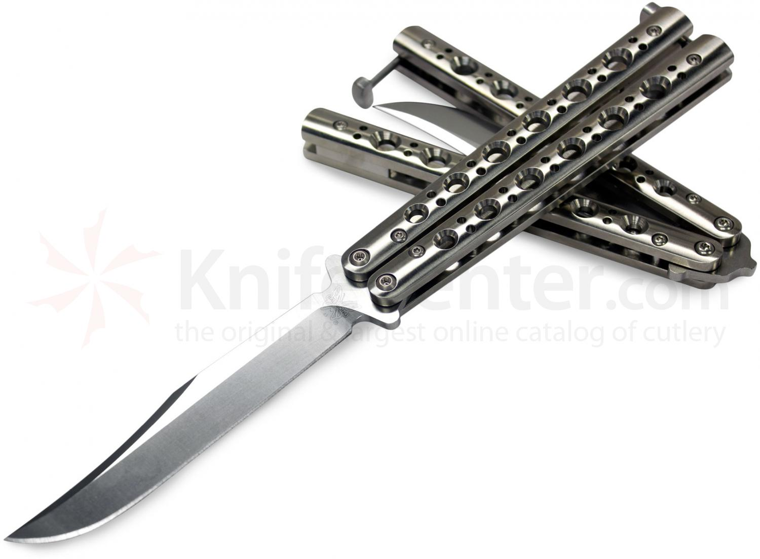 Benchmade 63 Balisong Butterfly 4.25 inch Bowie Blade, Stainless Steel Handles, T-Latch