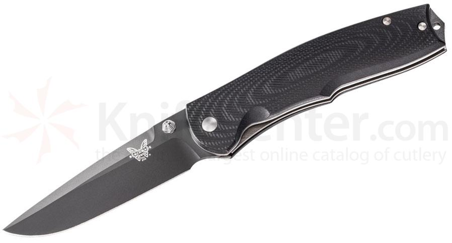 Benchmade 890BK Torrent Assisted 3.6 inch Black Plain Blade, Black G10 Handles