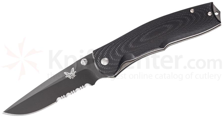Benchmade 890SBK Torrent Assisted 3.6 inch Black Combo Blade, Black G10 Handles