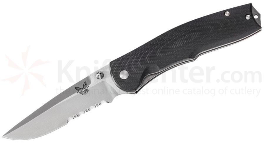 Benchmade 890S Torrent Assisted 3.6 inch Satin Combo Blade, Black G10 Handles