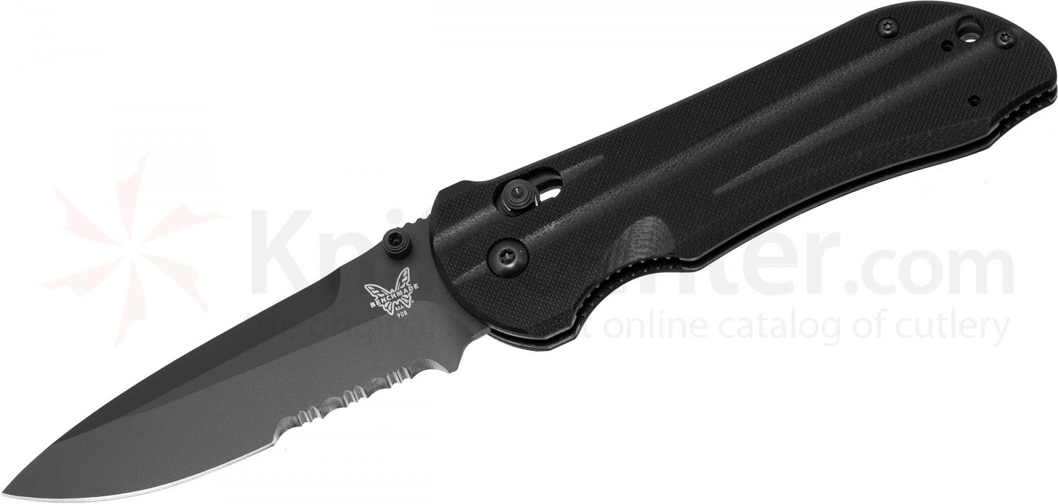 Benchmade 908SBK AXIS Stryker Folding Knife 3.57 inch Black Combo Blade, G10 Handles