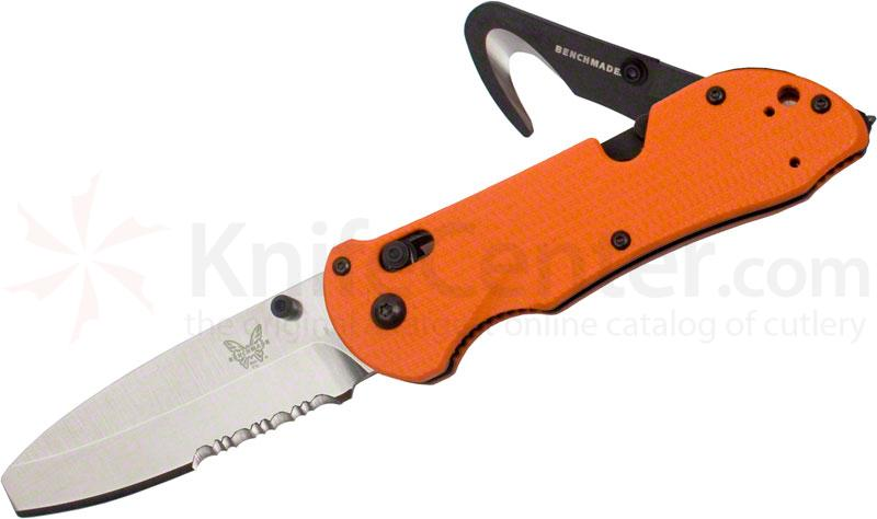 Benchmade 916S-ORG Triage Rescue Knife 3.5 inch Satin Combo Blunt Tip Blade, Orange G10 Handles, Safety Cutter, Glass Breaker