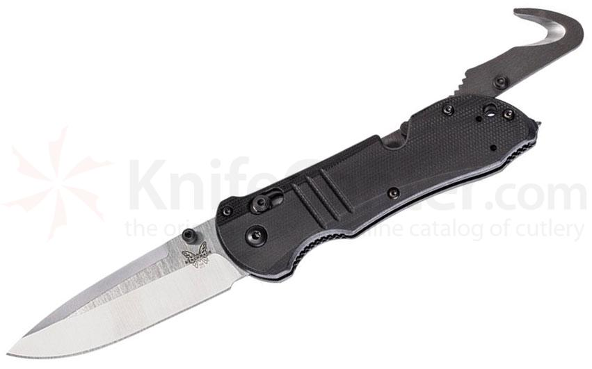 Benchmade Tactical Triage Rescue Folding Knife 3.48 inch S30V Satin Plain Blade, Black G10 Handles, Safety Cutter, Glass Breaker