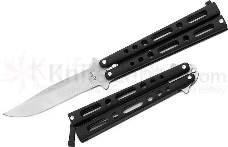 Benchmark Bali-Song Butterfly 4 inch Clip Point Blade, Black Handles