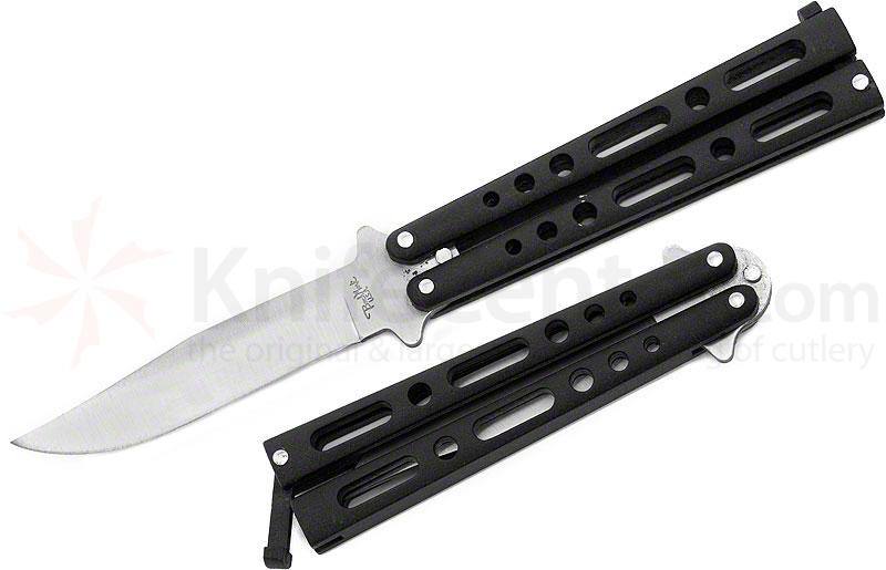 Benchmark Balisong Butterfly Knife 4 inch Clip Point Blade, Black Handles