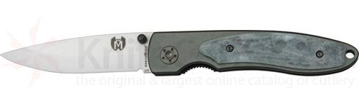Benchmark Ceramic Folding Knife 3-1/4 inch Ceramic Blade, Smooth Gray Bone Onlay