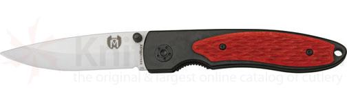 Benchmark Ceramic Folding Knife 3-1/4 inch Ceramic Blade, Red Jigged Bone Onlay