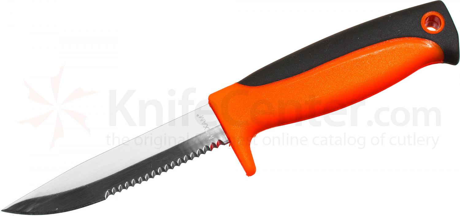 Maxam Bait Knife Fixed 3-7/8 inch Combo Blade, Orange and Black Polypropylene Handle