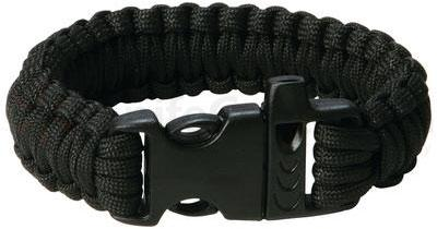 Maxam 9 inch Black Paracord Bracelet, Whistle Buckle