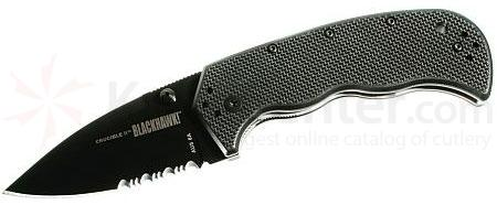 BLACKHAWK! Crucible II Black Folder, 3.2 inch Combo Edge Blade, G-10 Handle