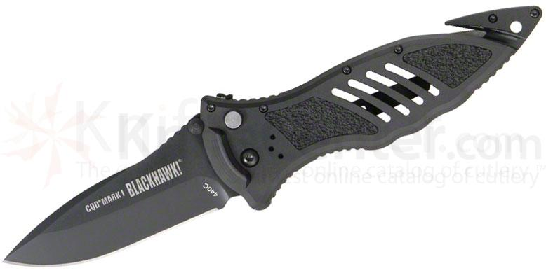 BLACKHAWK! CQD Mark I Folding Knife 3.75 inch Plain Blade, Aluminum Handles
