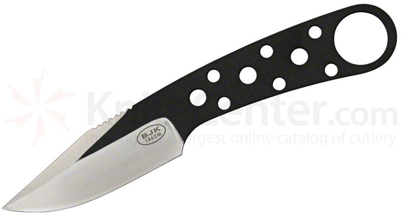 Blackjack Model 155 Neck Knife 3 inch 154CM Stainless Blade, Matte Black, Leather Sheath