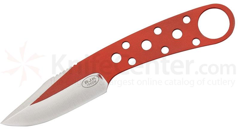 Blackjack Model 155 Neck Knife 3 inch 154CM Stainless Blade, Red, Leather Sheath