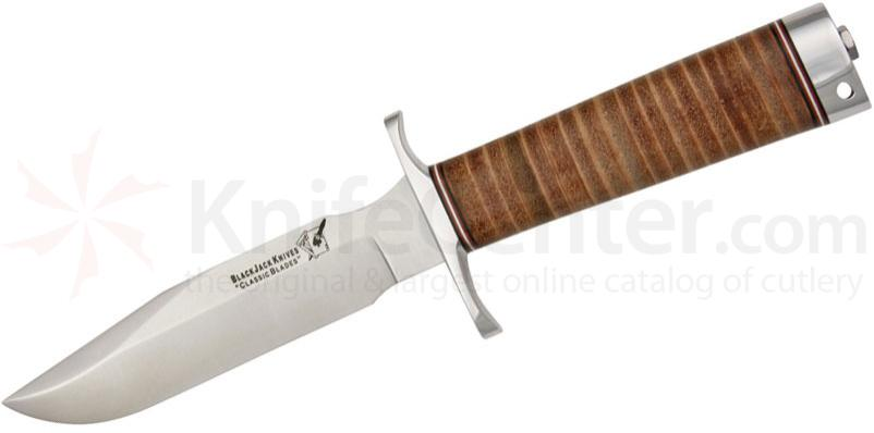 Blackjack Classic Model 5 Fixed 5-1/2 inch Blade, Stacked Leather Handles
