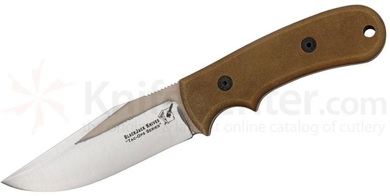 Blackjack Tac Ops 4 Ranger Fixed 4-1/2 inch 1095 Blade, Coyote Brown Micarta Handle, Kydex Sheath