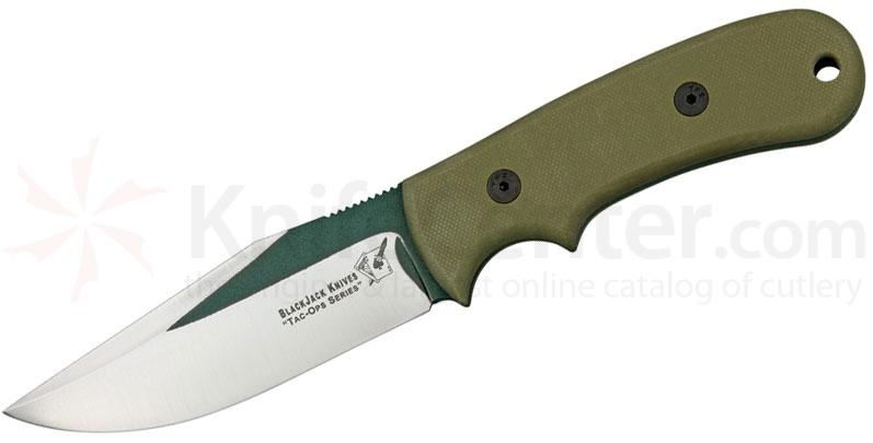 Blackjack Tac Ops 4 Ranger Fixed 4-1/2 inch 1095 Blade, Green  Micarta Handle, Kydex Sheath