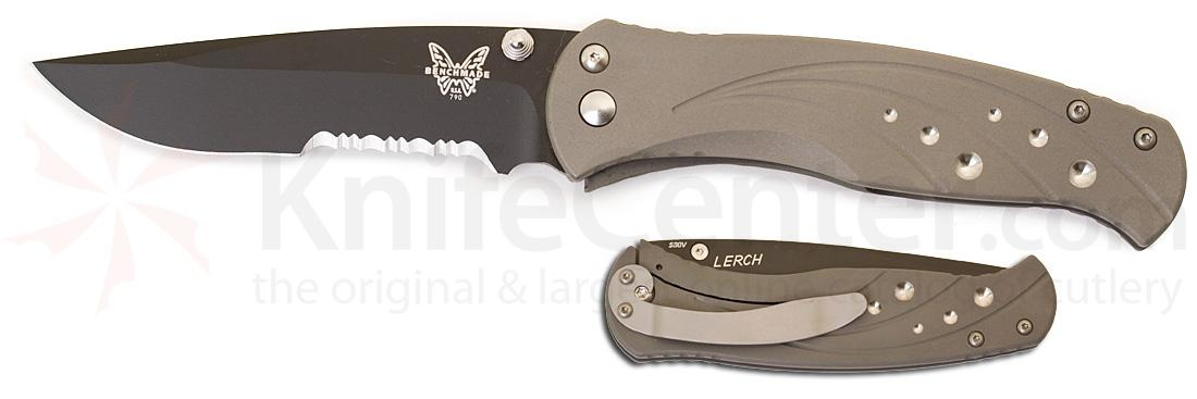 Benchmade Lerch Subrosa Assisted 3.76 inch Black Combo Blade, Titanium Handles