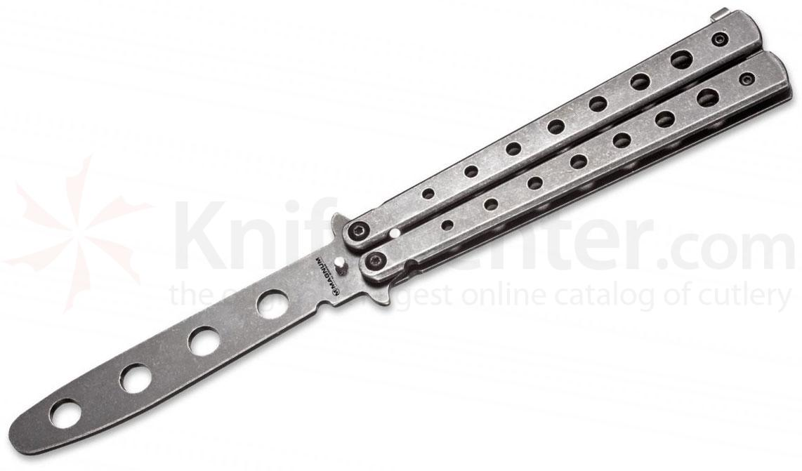 Boker Magnum Balisong Butterfly Knife Trainer 2nd Gen 3.9 inch Unsharpened Blade, Black Stonewashed, Stainless Steel Handles