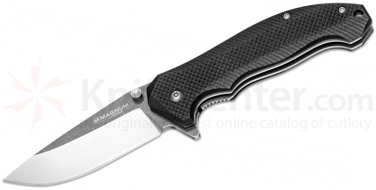 Boker Magnum Black Satin Flipper 3.125 inch Two-Tone Blade, Black G10 Handles