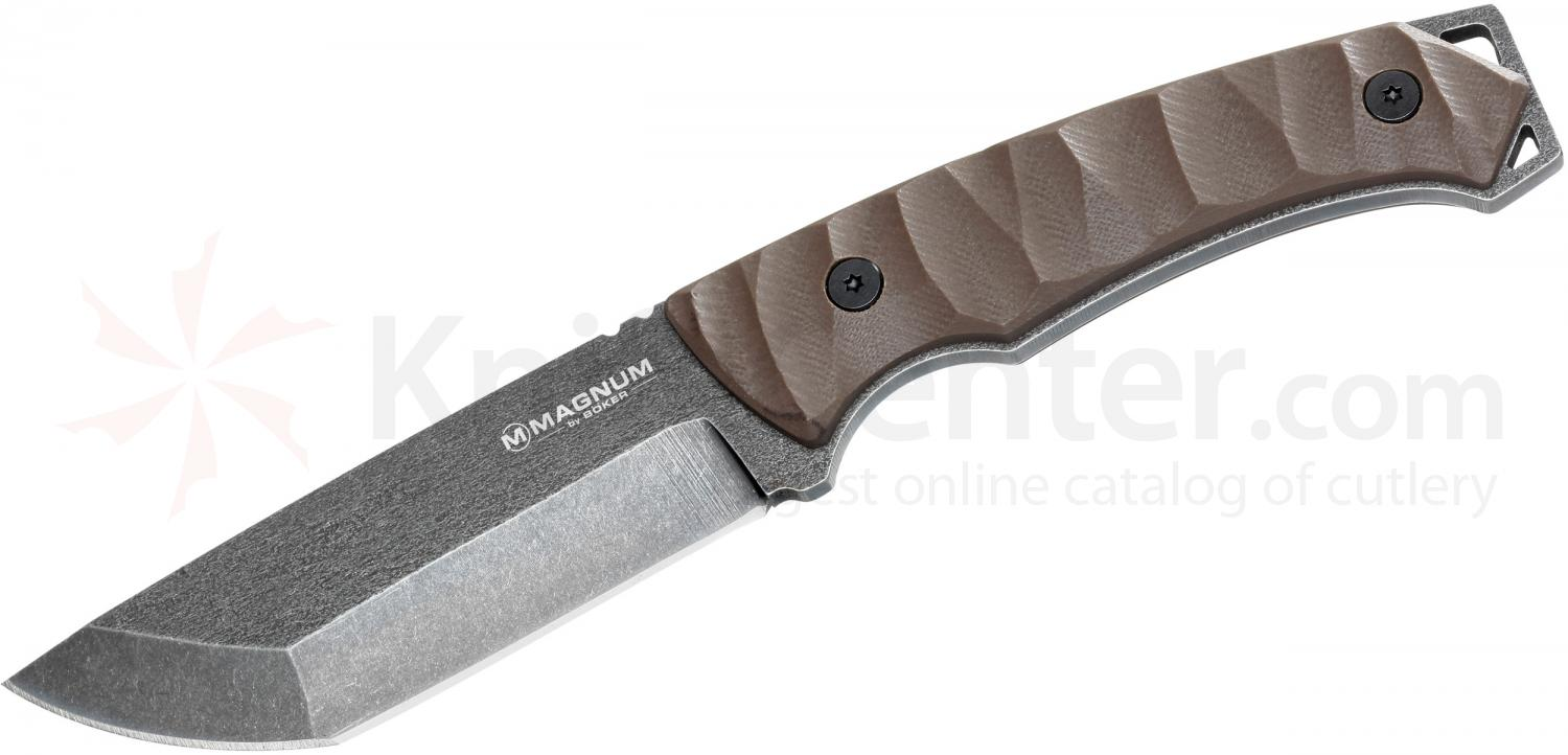 Boker Magnum Breacher Fixed 4-1/4 inch Stonwash Tanto Blade, Brown G10 Handles (02MB540)
