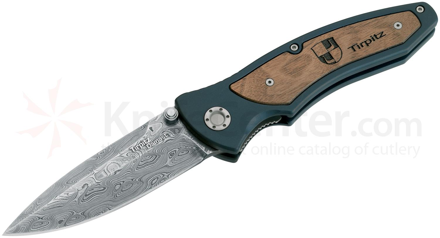 Boker Tirpitz Folding Knife 3-7/8 inch Damascus Blade, Aluminum Handles with Walnut Inlay