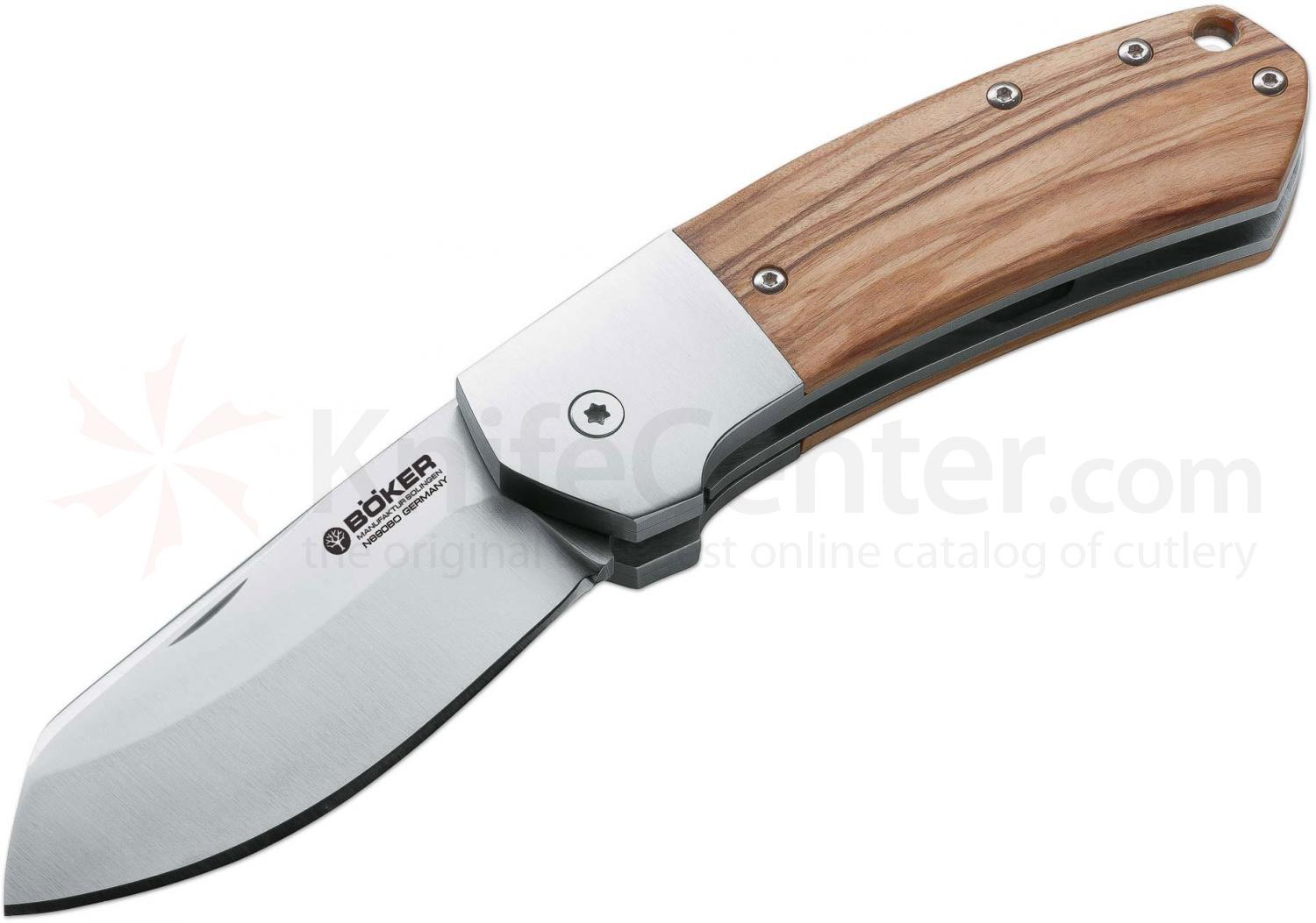 Boker Arctos 42 Jens Anso Folding Knife 2-7/8 inch N690BO Blade, Olive Wood Handles