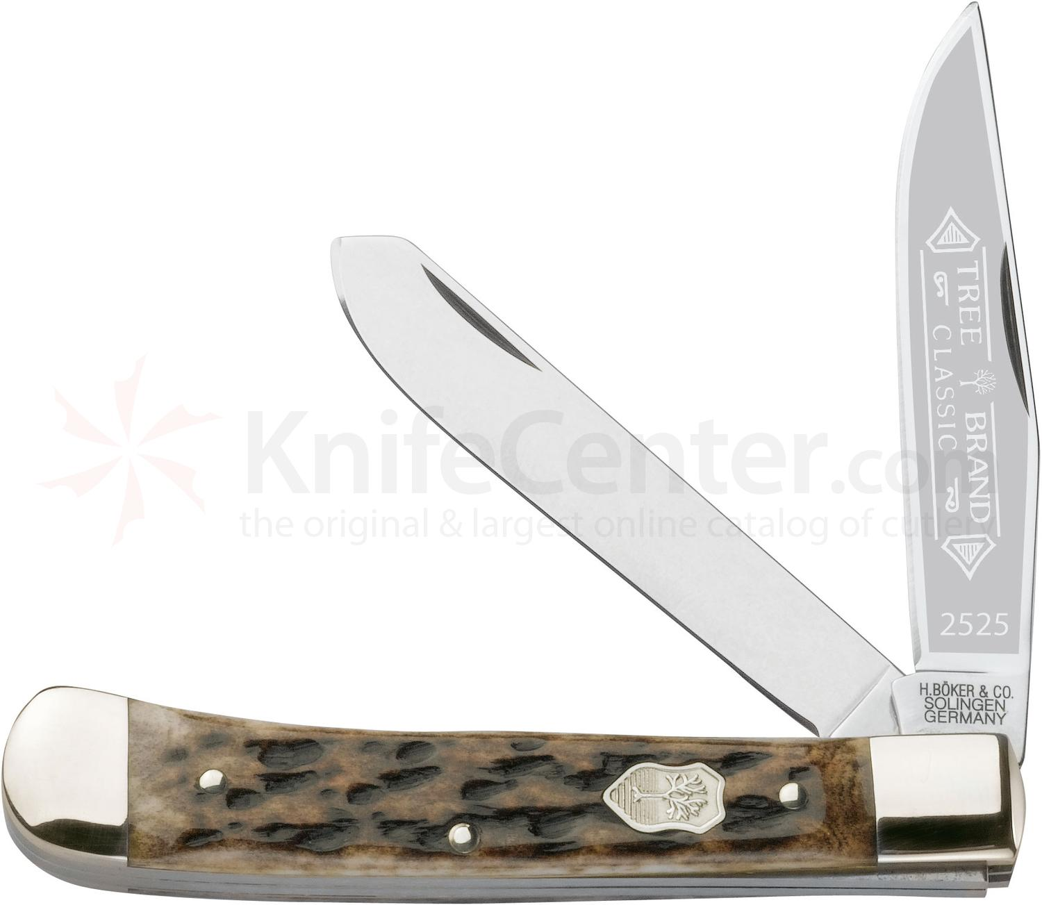 Boker Appaloosa Trapper Pocket Knife 4.25 inch Closed, Bone Handles