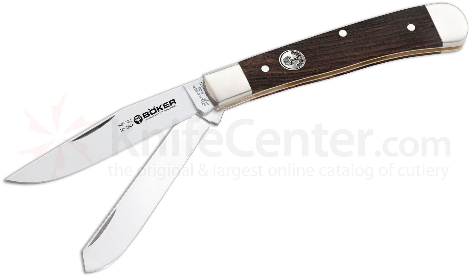 Boker Anniversary Two Blade Trapper, Grenadill Wood, 4.17 inch Closed
