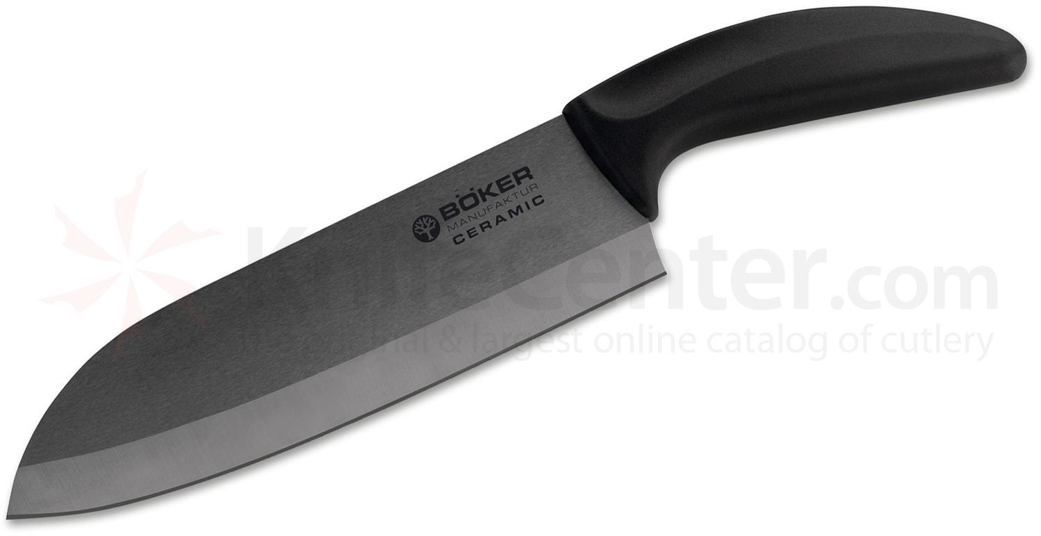 Boker Ceramic Santoku Knife 7.125 inch Black Blade, Delrin Handle