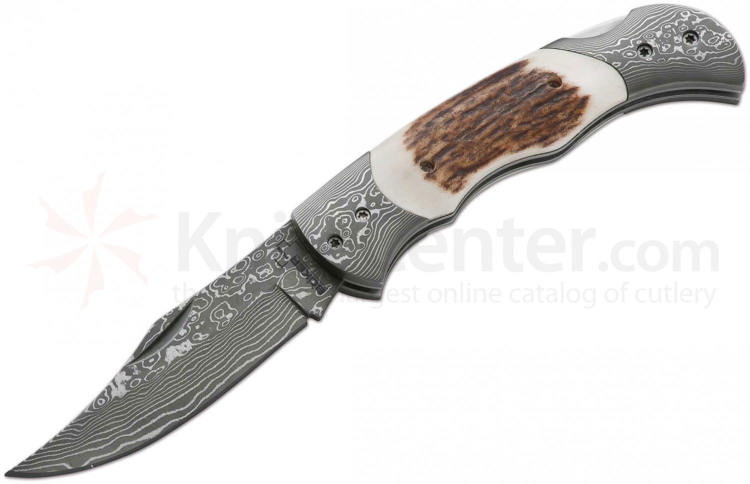 Boker Plus Damascus Traditional Folder 3-1/8 inch Blade, Stag and Damascus Handles (01BO028DAM)