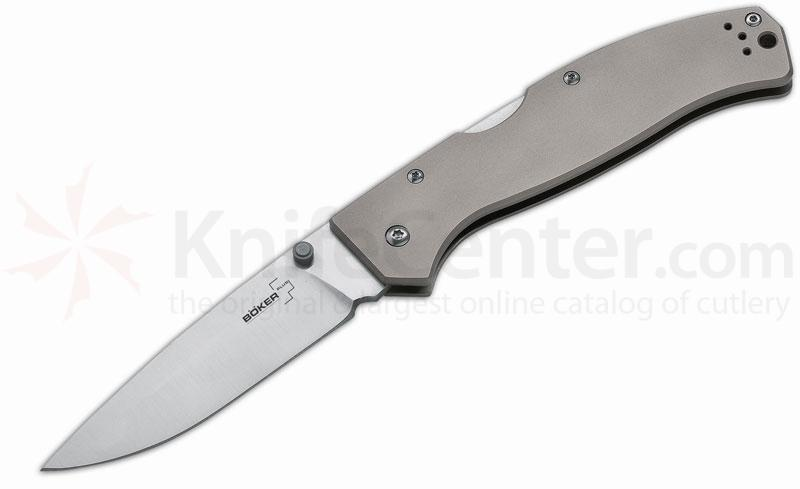 Boker Plus Titan Drop Folding Knife 3-3/4 inch Blade, Titanium Handles