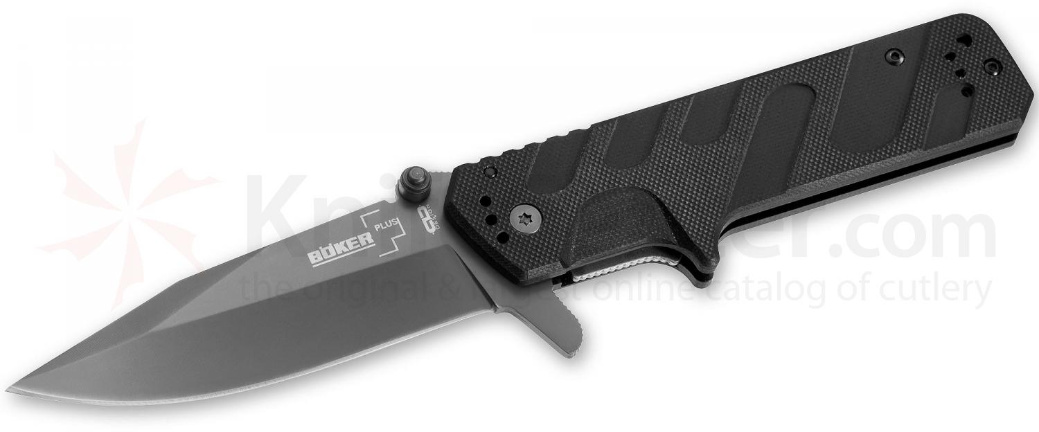 Boker Plus CLD Direkt Folding Knife 3-5/8 inch Gray Blade, Black G10 Handles (01BO570)