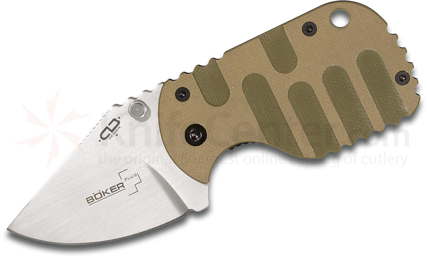 Boker Plus Subcom Folding Knife 1.875 inch Satin Plain Blade, Desert and Green G10 Handle, KnifeCenter Exclusive