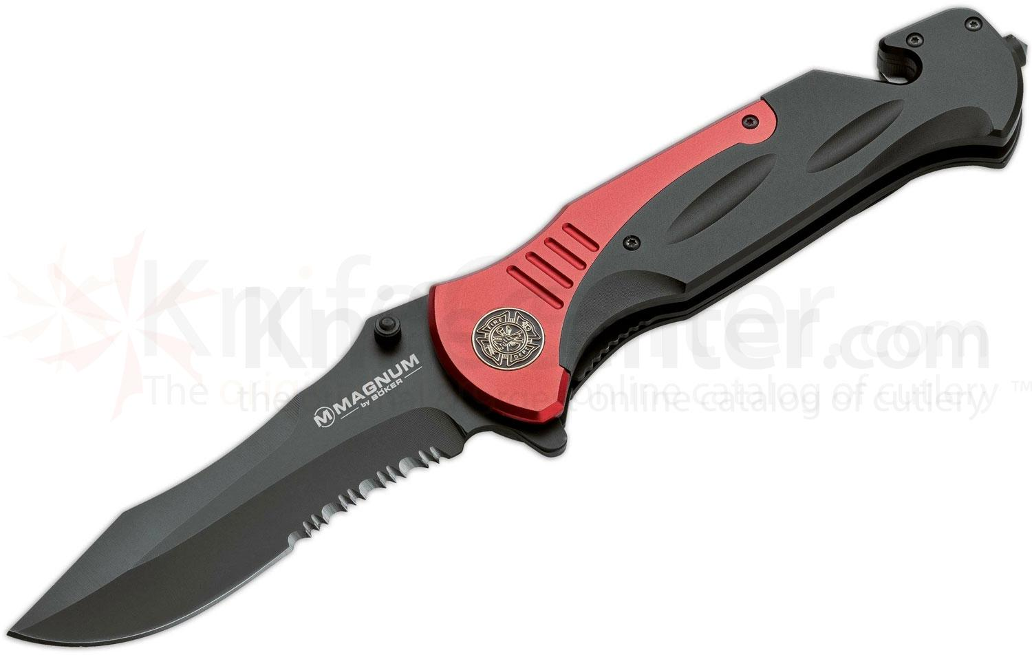 Boker Magnum Fire Chief Rescue Folding Knife 4-1/2 inch Black Combo Blade, Black and Red Handles