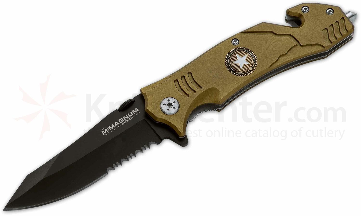 Boker Magnum Army Rescue Folding Knife 3-2/5 inch Black Combo Blade, Olive Aluminum Handles (01LL471)