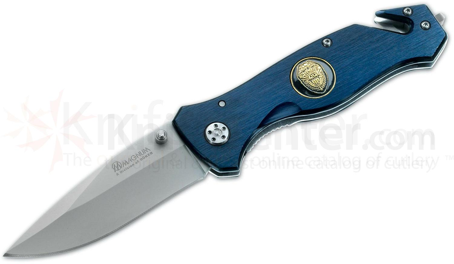 Boker Magnum Law Enforcement Rescue Folding Knife 3-3/8 inch Satin Plain Blade, Blue Aluminum Handles
