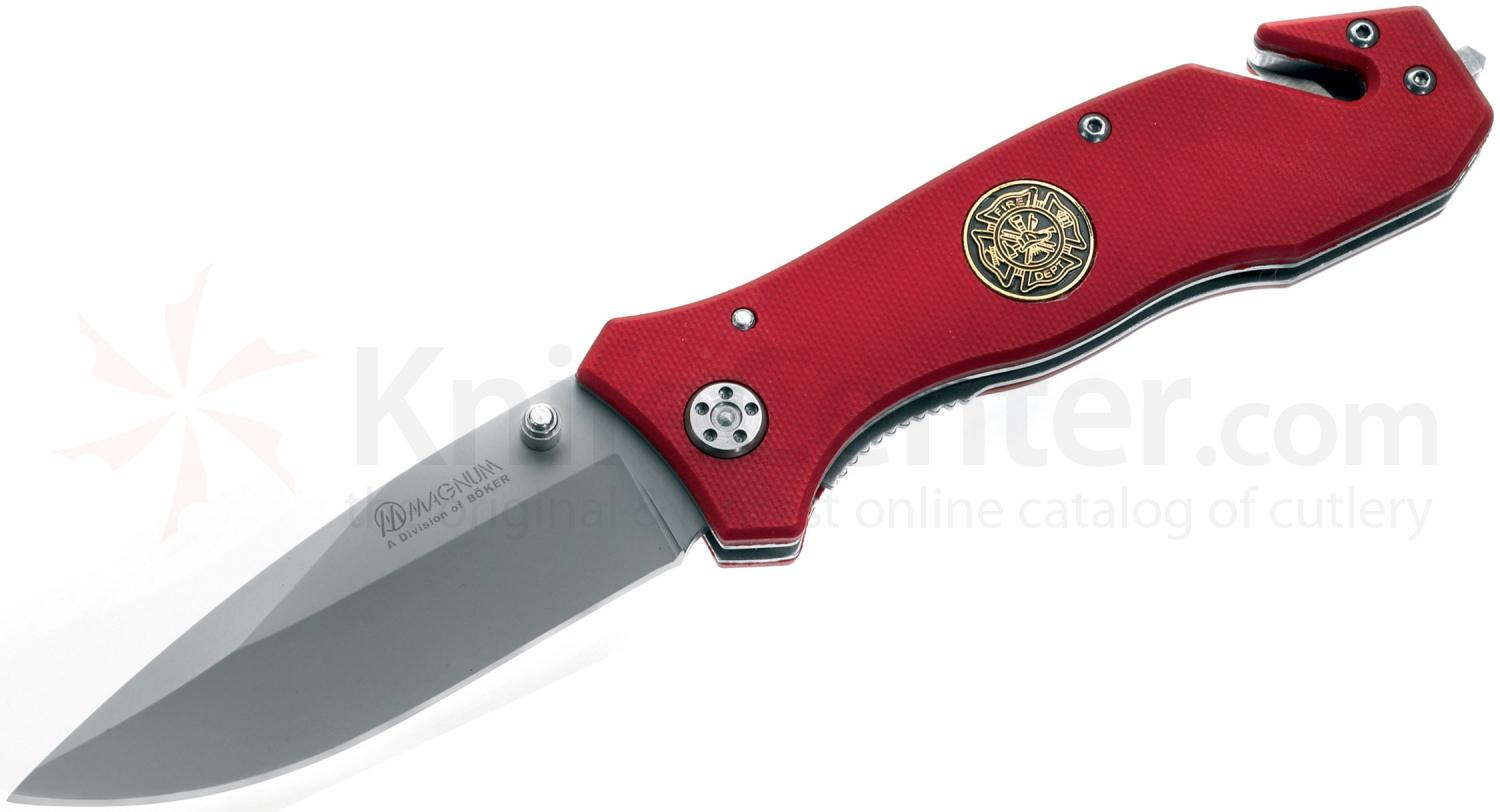 Boker Magnum Fire Dept Rescue Flipper 3-3/8 inch Plain Blade, Red G10 Handles