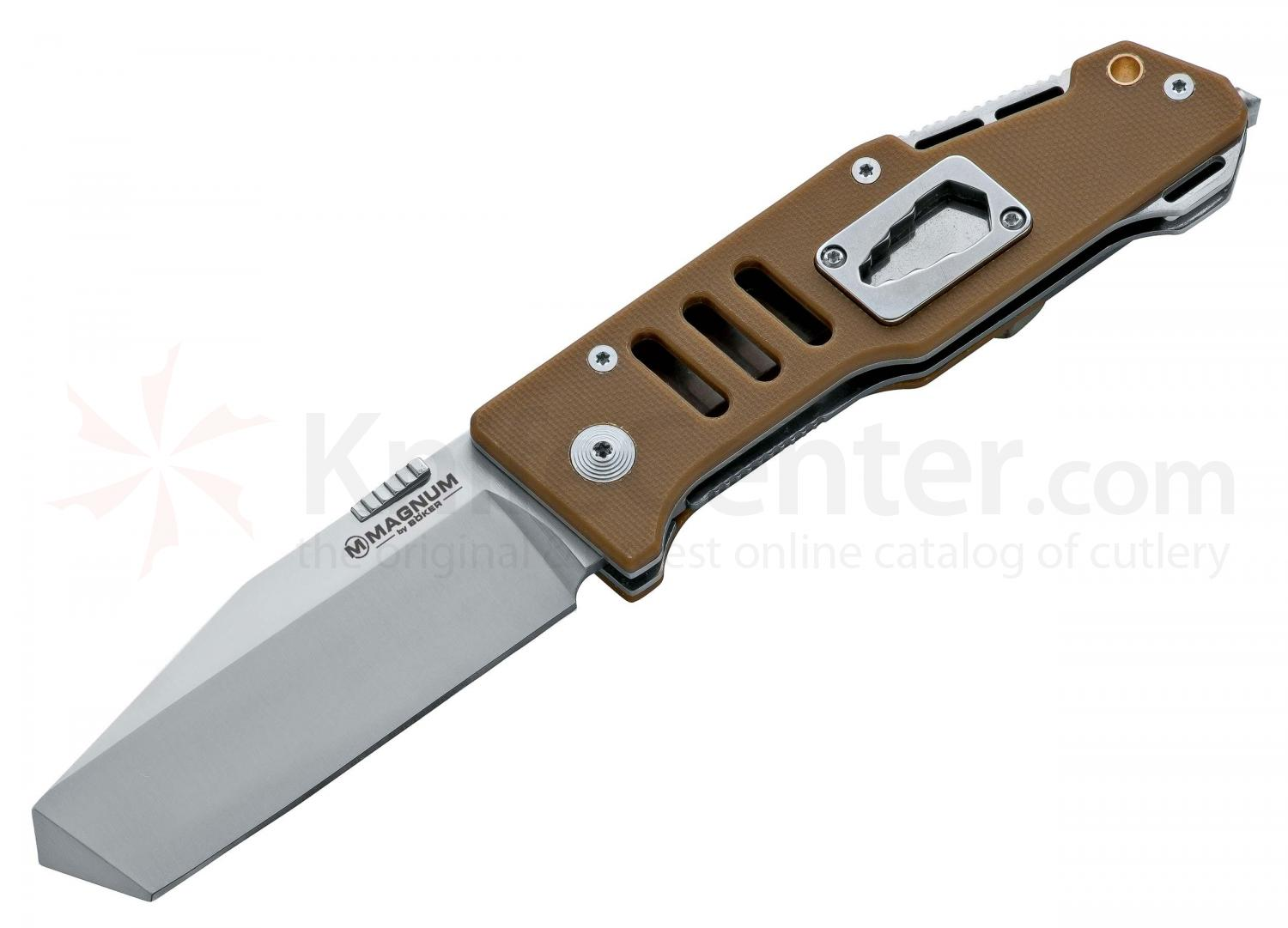 Boker Magnum Timberman Folding Knife 3-3/8 inch Blade, Besh Wedge Tip, Coyote Brown G10 Handles (01RY144)