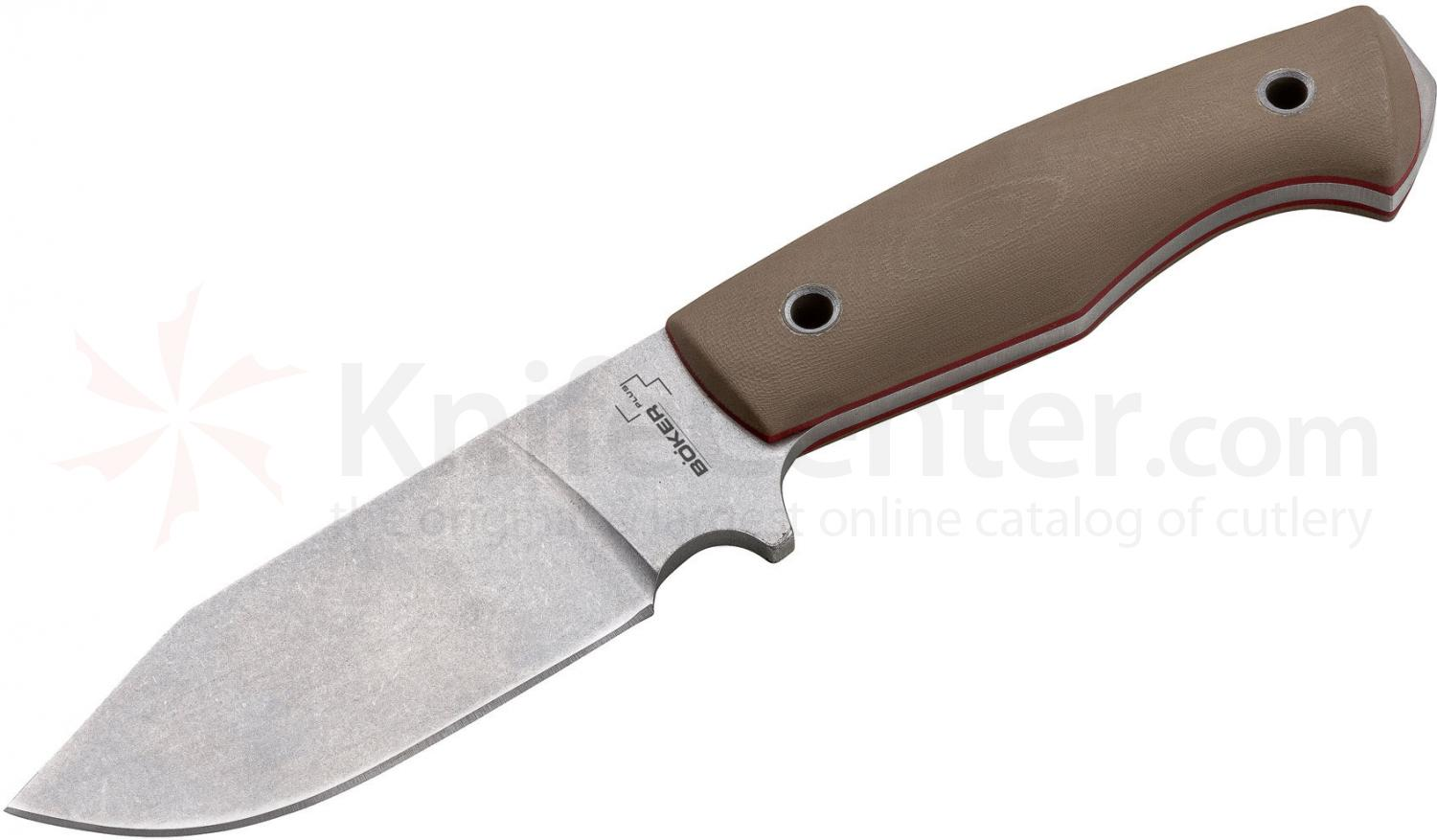 Boker Plus VoxKnives Rold Scout Fixed 3.25 inch Stonewashed D2 Blade, G10 Handles, Kydex Sheath