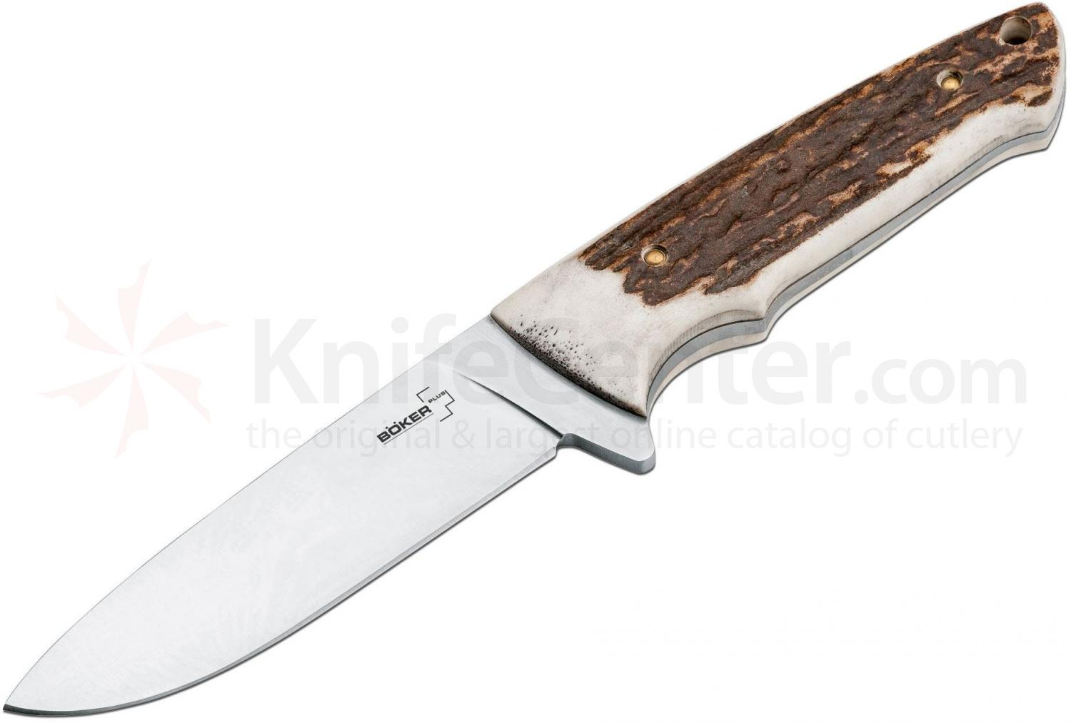 Boker Plus Stag Drop Point Fixed 4-1/8 inch Blade, Stag Handles (02BO319)