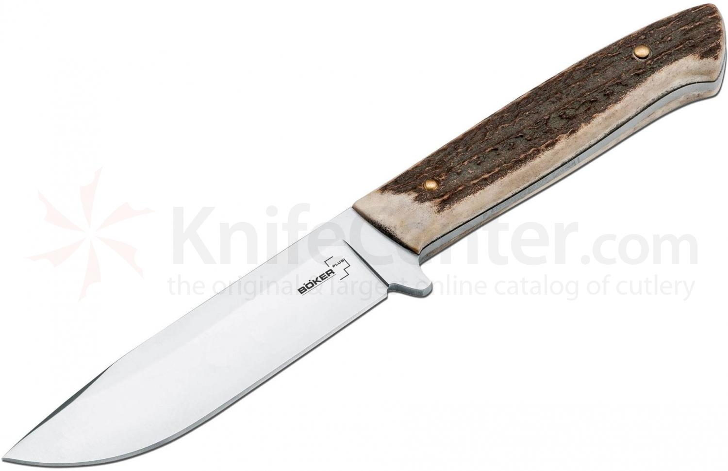 Boker Plus Stag Hunter Fixed 4-1/8 inch Blade, Stag Handles (02BO519)