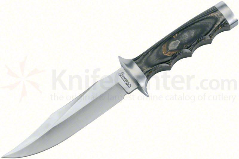 Boker Magnum Safari Mate Fixed 6 inch Bowie Blade, Laminated Wood Handle, Leather Sheath