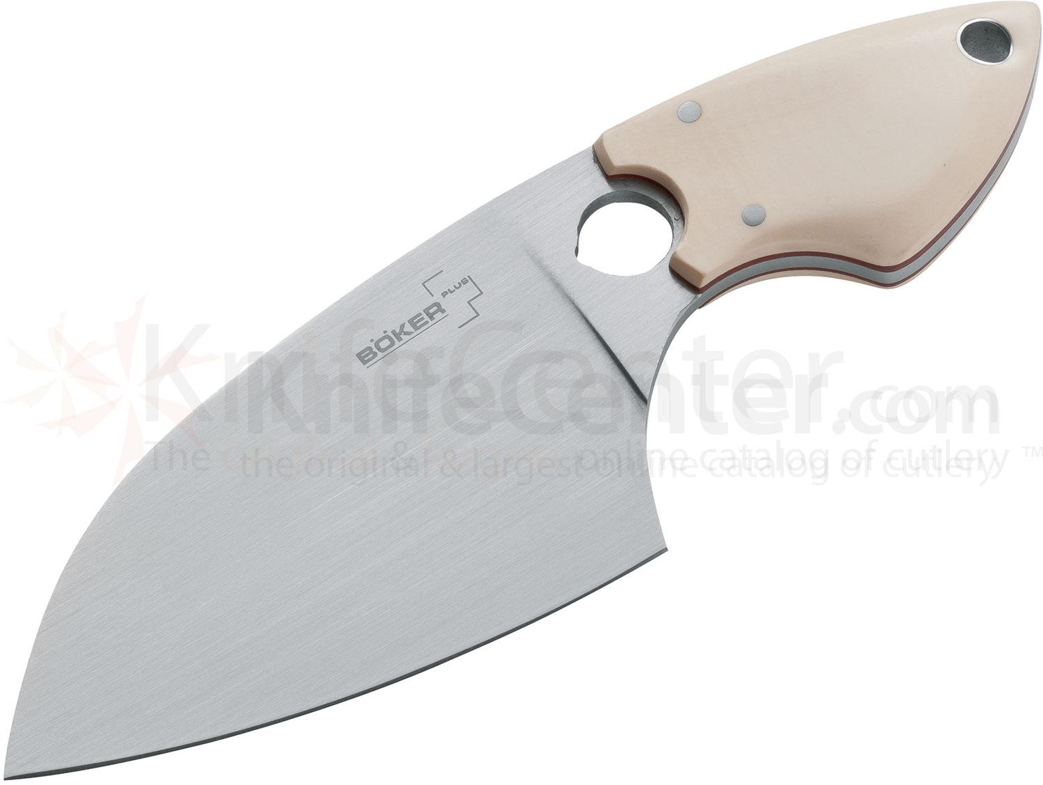 Boker Plus Sanyougo Utility Knife 3-3/8 inch Blade, White Micarta Handles, Leather Sheath