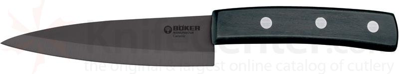 Boker Ceramic Utility Knife 5 inch Black Blade, Ebony Wood Handle