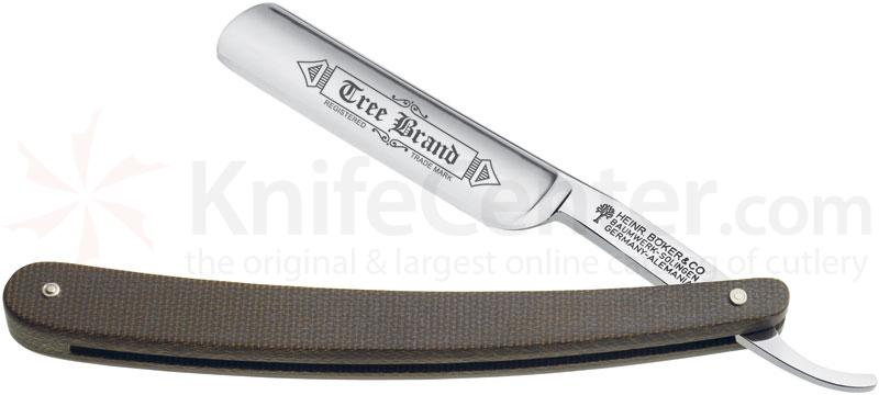 Boker Tree Brand Green Canvas Micarta Straight Razor 4/8 inch Carbon Blade