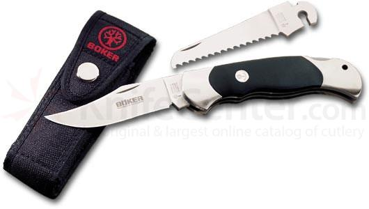 Boker Optima Delrin Set, Clip Point and Saw 3-5/8 inch Blades, Black Delrin Handles (113103)