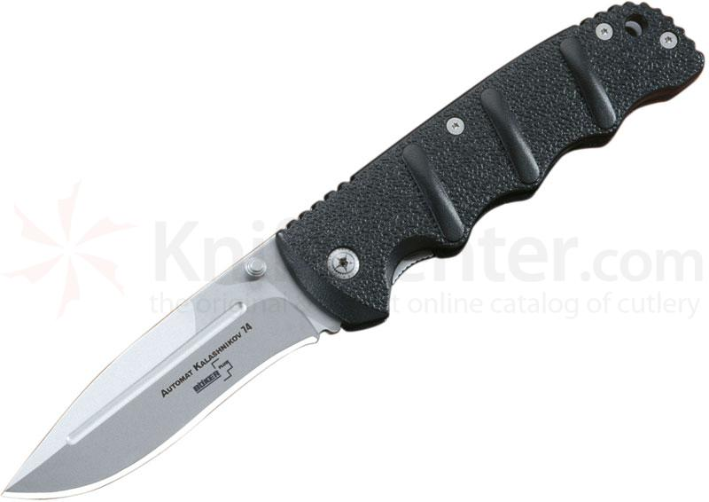 Boker Plus Automat Kalashnikov 74 Folding Knife 3.5 inch Bead Blast Plain Blade, Black Aluminum Handles (NOT an Automatic)