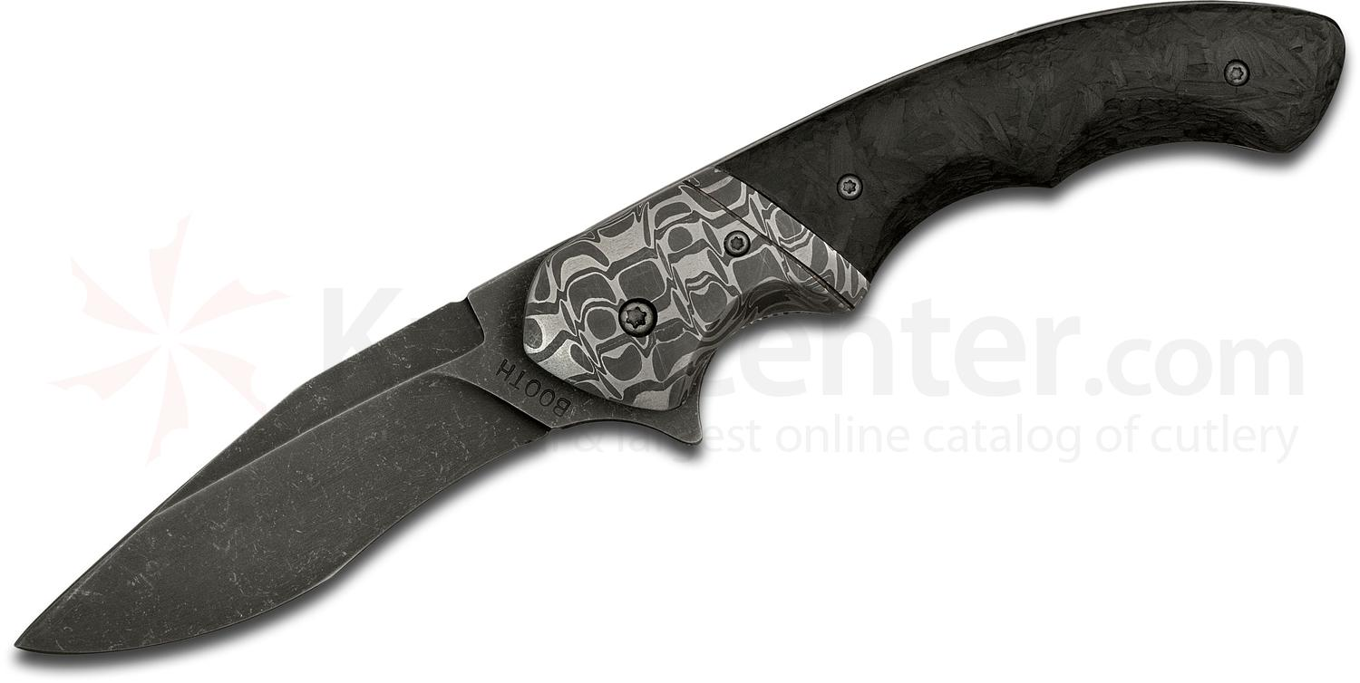 Philip Booth Custom Cool Guy Flipper 2.75 inch 154CM Recurve Drop Point Blade, Shred Carbon Fiber Handles with Cheetah Damascus Bolsters