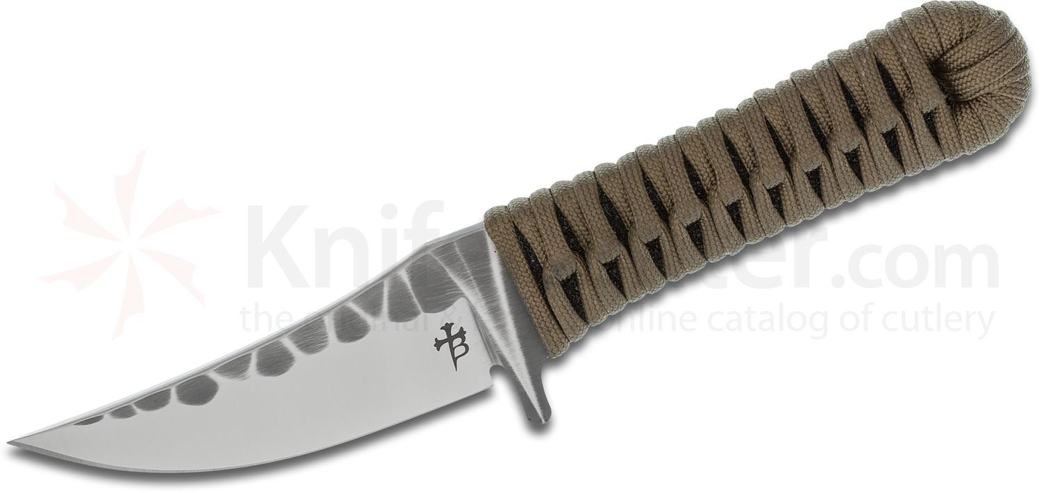 Borka Blades Custom SBK 3.5 Fixed 3.5 inch M390 Borka Patterned Blade, Ray Skin/Coyote Brown Paracord Handle and Kydex Sheath