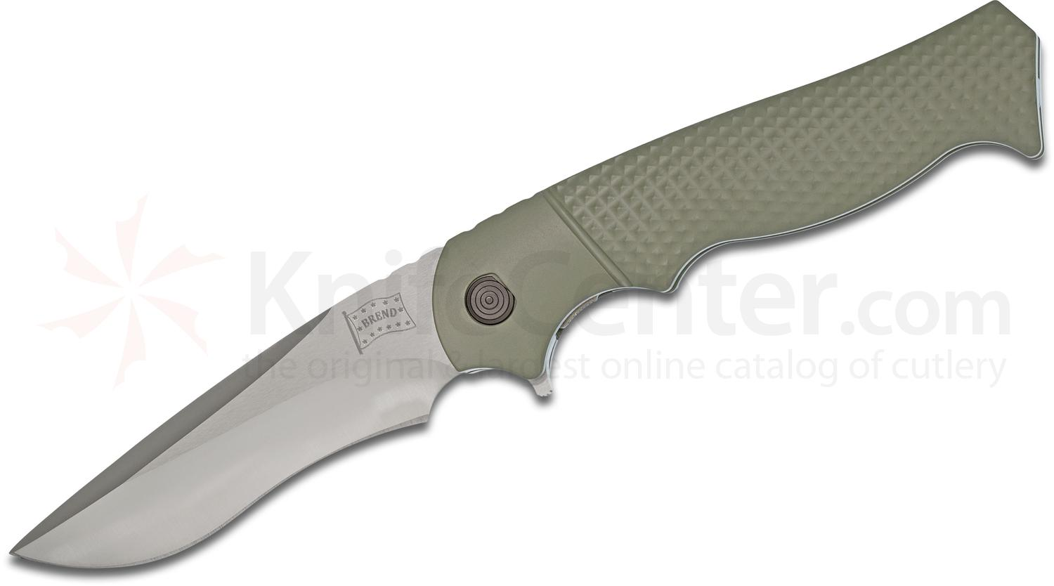 Walter Brend Handmade Knives Model 2 Assisted Flipper 3.75 inch PSF27 Hand Ground Recurve Blade, Green Aluminum Handles